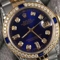 Rolex 36mm Datejust Blue 8+2 Diamond Accent Dial with Sapphire 2Tone Watch 16233