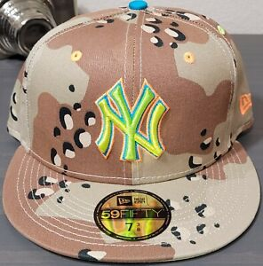 MLB New York Yankees New Era 59FIFTY Camo Pop Flourescent Green UV Brand NEW