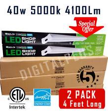 Qty 2 4 Ft 40W 5000k Led Garage Work Shop light Fixture 4100 Lumens = 110w