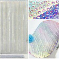 Iridescent Bathroom Shower Mat And  Iridescent Holographic Shower Curtain Set