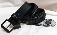Harley-Davidson Cylinder Studded Bar & Shield Leather Belt Size 42 #10306