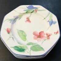 """Set of 4 Mikasa Salad Plates Gallery French Silk Floral 8 1/2"""" Octagonal D007"""