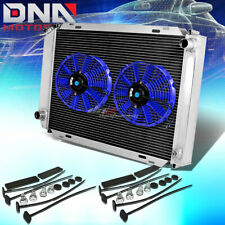FOR 79-93 MUSTANG FULL ALUMINUM 3-ROW/CORE RACING RADIATOR+COOLING BLUE FANS