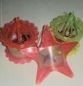 VINTAGE Christmas spinner ornament 2  birdhouses 1 star 50s or 60s glitter lot