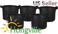 Hongville 5-Pack Black Grow Bags Aeration Fabric Pots w/Handles Root Container
