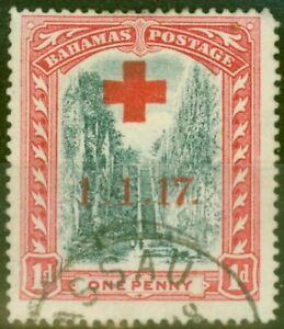 Bahamas 1917 1d Grey-Black & Dp Carmine-Red SG90a Long Stroke to 7 Fine Used