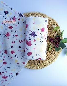 Large 120cm Soft Organic Bamboo Floral Baby Muslin Swaddle Cloth Blanket