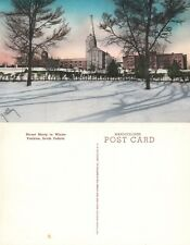 YANKTON S.D. MOUNT MARTY IN WINTER HAND COLORED VINTAGE POSTCARD
