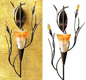 "Stunning Sunrise Orange ** 12.5"" DAWN LILY SCULPTURED TEALIGHT WALL SCONCE * NIB"