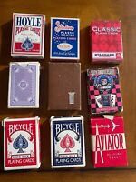 Old Single deck Playing cards 2 Rider Back, 4 Poker size, 3 standard