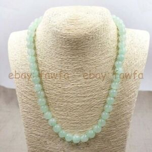 Natural 6/8/10/12/14mm Light Green Jade Round Gemstone Beads Necklace 18-36''