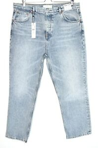 Topshop EDITOR High Waisted Straight Leg Blue Cropped Jeans Size 18 W36 L32 NEW