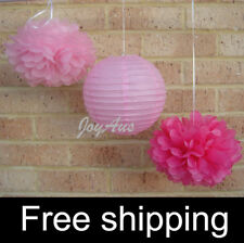18x pink paper pom poms paper lanterns wedding party baby shower shop decoration