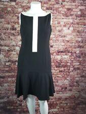 Donna Morgan Black Ivory Color Block Boat Neck Bottom Flared  Sheath Dress Sz14