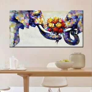 CULOP821 100% hand painted color elephants & flowers oil painting art on canvas