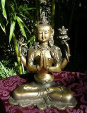 Feine alte Avalokiteshvara (Chenrezig) Statue aus TIBET 1,45 Kg