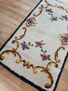 Vintage retro Latch Hook Wool Floral Flower Fireside Floor Rug Mat 40s 50s 60s