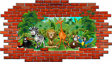 Kid's Room Mural Tattoo Zoo Jungle Animals Wall Tile Monkey Giraffe Lion