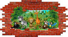 Kinderzimmer Wandbild Tatoo Zoo Dschungel Tiere Mauer Ziegel Affe Giraffe Löwe