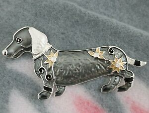 DACHSHUND DOG MAGNETIC BROOCH Charcoal Grey Paw Sausage Dogs BROACH Pin Scarf UK