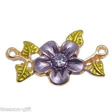10PCs Gift Metal Charm Connectors Rhinestone Flower Leaves Multicolor 20x13mm