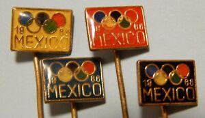 Summer Olympic Games Mexico 1968 Vintage Enamel Pin Badges 4 pcs.