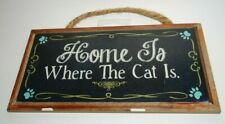 New Door Wall Sign Plaque Home is Where the Cat Is Fun Gift Rope Hanger Cute