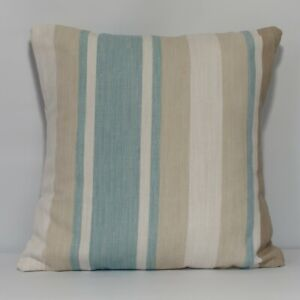 Handmade Cushion Cover in Laura Ashley Awning Stripe Duck Egg  -  Both Sides
