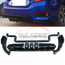 For Honda Civic 2016+ Third Outlet Exhaust Pipes & Rear Bumper Side Lip Spoiler