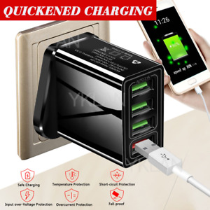 USB Plug Wall Charger Fast Charge Multi Quick Charging 3.0 4-Port Adapters UK