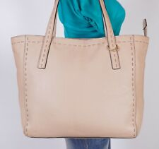 COLE HAAN Extra Large Beige Leather Shoulder Hobo Tote Satchel Purse Bag