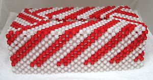 Handmade Christmas Candy Cane Beaded Tissue Box Cover Red White SHP