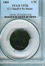 1806 Draped Bust Half Cent C-1 Small 6 No Stems : PCGS VF20
