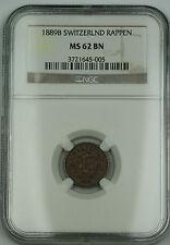 1889 B Switzerland 1 Rappen Swiss Coin NGC MS-62 BN
