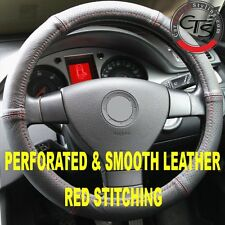 CAR STEERING WHEEL COVER PERFORATED & SMOOTH LEATHER RED STITCHING