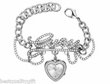 NEW-GUESS SILVER TONE CRYSTAL LOGO LINK BRACELET+HEART DIAL WATCH-U12599L1+TAG