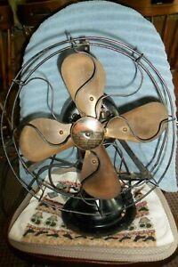 Vintage Peerless Model FF 1 Oscillating Fan Brass Blades 3 Speeds Working