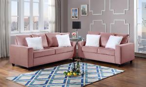 NEW 2PC Sofa Couch Loveseat Set Pink Velvet Modern Living Furniture Fur Pillows
