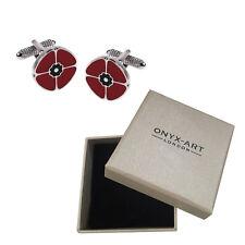 Mens Red Poppy Cufflinks & Gift Box Rememberance Sunday By Onyx Art