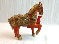 ANTIQUE FOLK ART SMALL MULTI-COLORED WOODEN HORSE W/ COPPER & BRASS TRIMMINGS.
