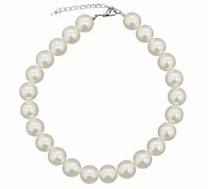 Large Big Giant Pearl 18mm Light Cream Pearl Necklace Bib Vintage Great Gatsby