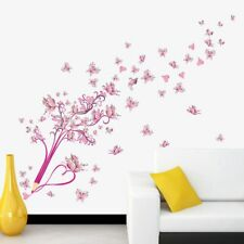 Wall Sticker Flying Pink Buttrfly Flower Blossom Pencil Tree Removable Wallpaper