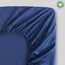 100% Organic Cotton King Dark Blue Fitted Sheet   Sateen Weave   400 Thread Coun