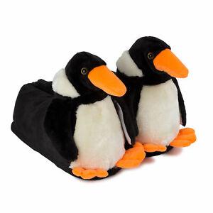 Hausschuhe Puschen Tier Pinguin Pantoffel Schlappen schwarz Damen Herren Mädchen