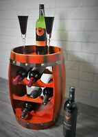 8 Bottle Wooden Barrel Style Wine Rack Holder Oak Effect Free Standing Bar Gift