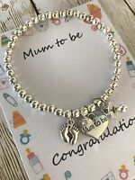 Mum to be pregnancy charm baby shower bracelet gift