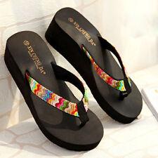 Summer Lady Women Platform Sandals Beach Flat Wedge Patch Flip Flops Slippers