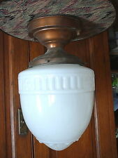 "ANTIQUE MILK GLASS ACORN SHADE COMMERCIAL CEILING FIXTURE ARTS & CRAFTS 6""Fitter"