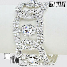 HIGH END WIDE CLEAR CRYSTAL BRACELET FORMAL PROM WEDDING CHIC & TRENDY JEWELRY