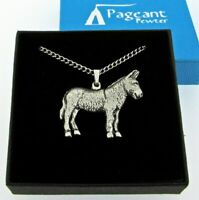Donkey Silver Pewter Pendant On A Chain